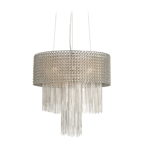Elan Lighting Elan Lighting Elauna Brushed Nickel Pendant Light with Drum Shade 83578