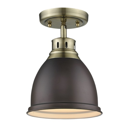 Golden Lighting Golden Lighting Duncan Ab Aged Brass Semi-Flushmount Light 3602-FM AB-RBZ
