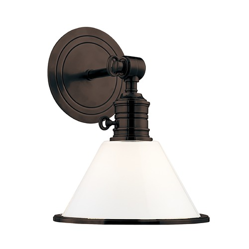 Hudson Valley Lighting Sconce Wall Light with White Glass in Old Bronze Finish 8331-OB