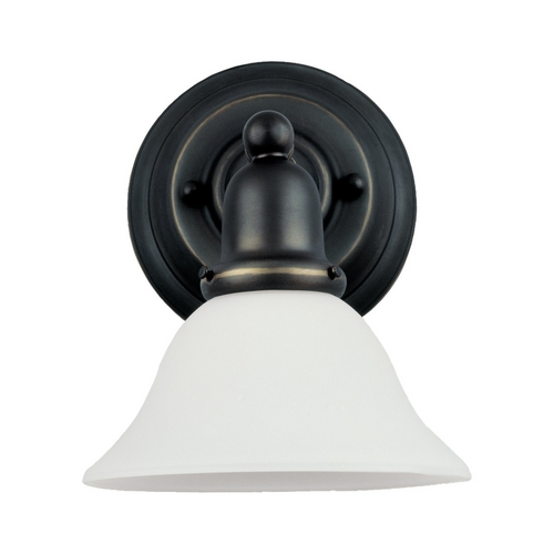 Sea Gull Lighting Sconce Wall Light with White Glass in Heirloom Bronze Finish 44060-782
