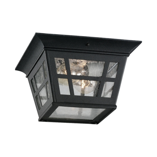 Sea Gull Lighting Close To Ceiling Light with Clear Glass in Black Finish 78131-12