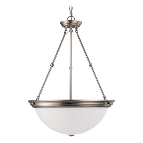 Nuvo Lighting Pendant Light with White Glass in Brushed Nickel Finish 60/3248