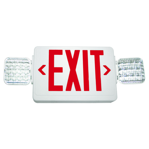 Exitronix LED Exit Sign & Emergency Light - White Finish EXITVLEDUWHEL90