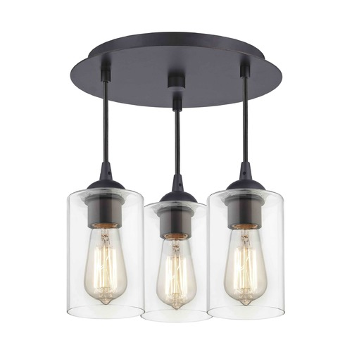 Design Classics Lighting 3-Light Semi-Flush Ceiling Light with Clear Cylinder Glass - Bronze Finish 579-220 GL1040C