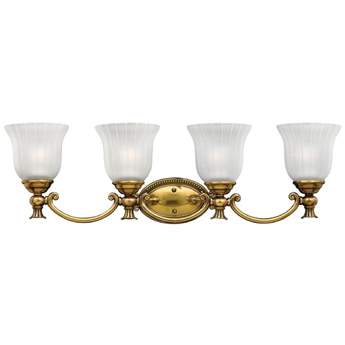 Hinkley Lighting Bathroom Light with White Glass in Burnished Brass Finish 5584BB