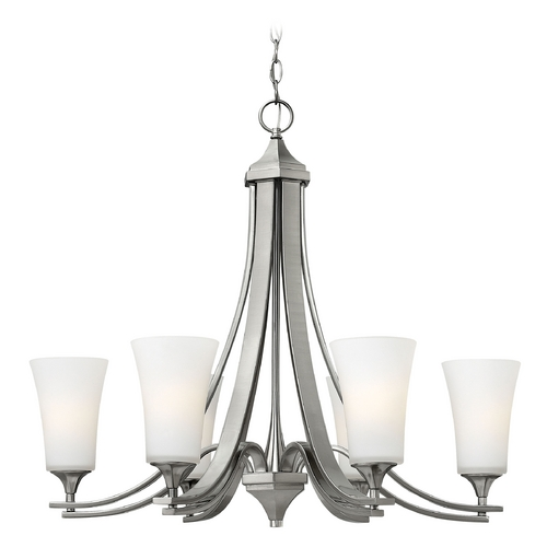 Hinkley Lighting Chandelier with White Glass in Brushed Nickel Finish 4636BN