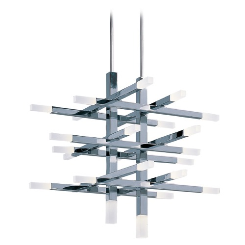 ET2 Lighting Crossroads Polished Chrome LED Pendant Light with Rectangle Shade E22516-90PC