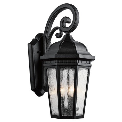 Kichler Lighting Kichler Outdoor Wall Light with White Glass in Textured Black Finish 9034BKT