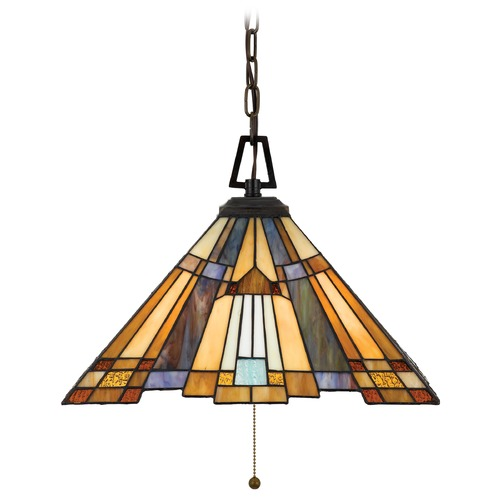 Quoizel Lighting Pendant Light with Multi-Color Glass in Valiant Bronze Finish TFIK1817VA