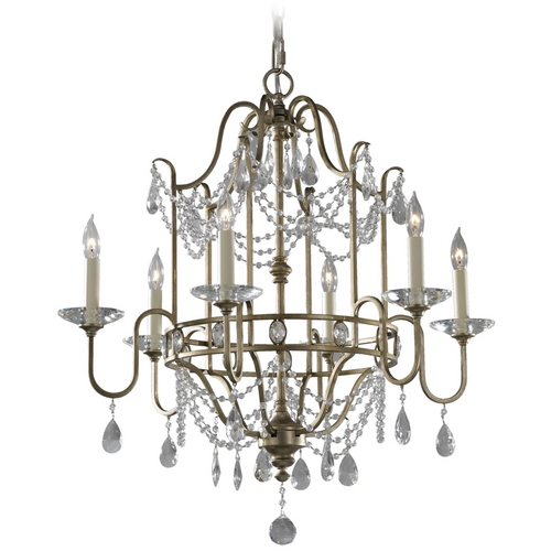 Feiss Lighting Crystal Chandelier in Gilded Silver Finish F2475/6GS