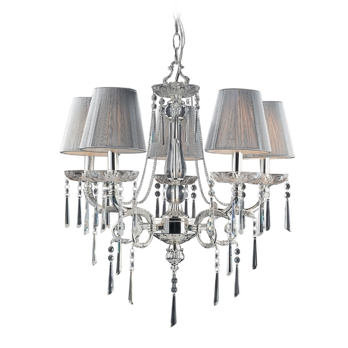 Elk Lighting Chandelier with Beige / Cream Shades in Polished Silver Finish 2396/5