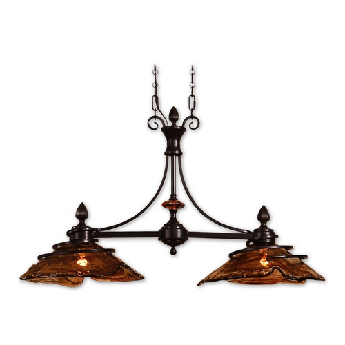 Uttermost Lighting Island Light with Art Glass in Oil Rubbed Bronze Finish 21225