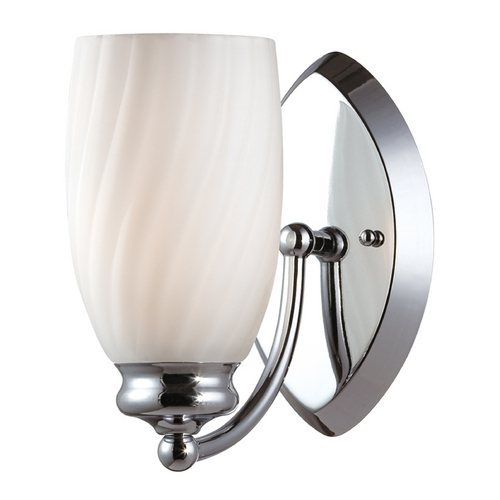 Designers Fountain Lighting Modern Sconce Wall Light with White Glass in Chrome Finish 6701-CH