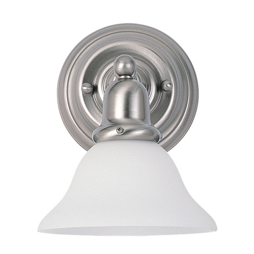 Sea Gull Lighting Sconce Wall Light with White Glass in Brushed Nickel Finish 44060-962