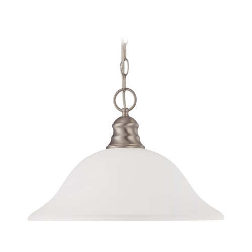 Nuvo Lighting Pendant Light with White Glass in Brushed Nickel Finish 60/3258