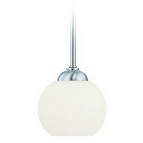 Dolan Designs Lighting Satin Nickel Mini-Pendant with White Glass 2871-09
