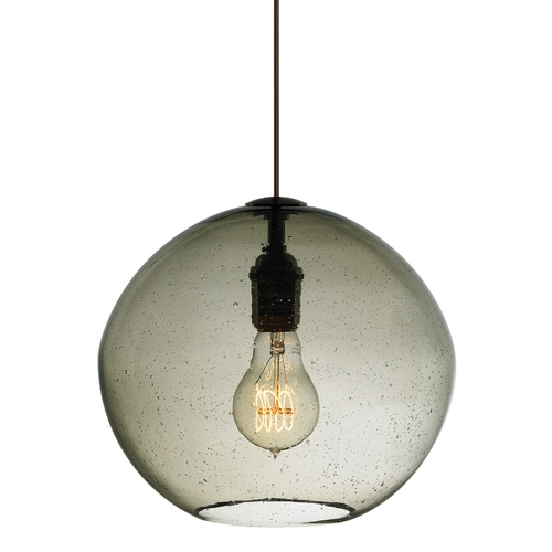 LBL Lighting Modern Satin Nickel Mini-Pendant Light with Hand Blown Seeded Shade LF512SMSC2D60