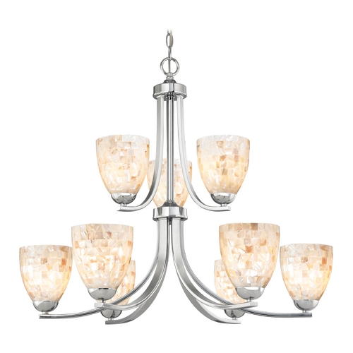 Design Classics Lighting Chandelier with Mosaic Glass in Polished Chrome Finish 586-26 GL1026MB
