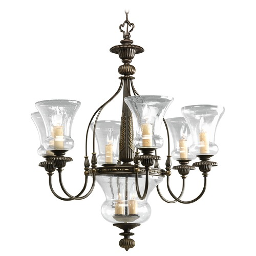 Progress Lighting Progress Chandelier with Clear Glass in Forged Bronze Finish P4410-77