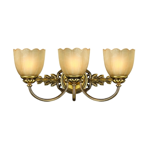 Hinkley Lighting Bathroom Light with Beige / Cream Glass in Burnished Brass Finish 5393BB