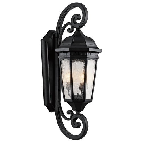 Kichler Lighting Kichler Outdoor Wall Light with Clear Glass in Textured Black Finish 9060BKT