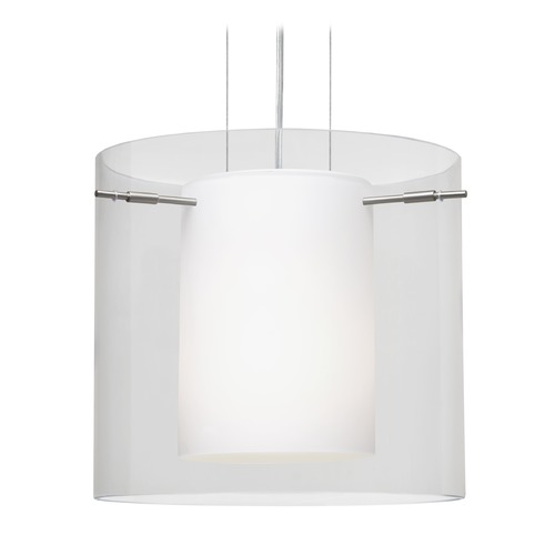 Besa Lighting Besa Lighting Pahu Satin Nickel LED Pendant Light with Drum Shade 1KG-C18407-LED-SN