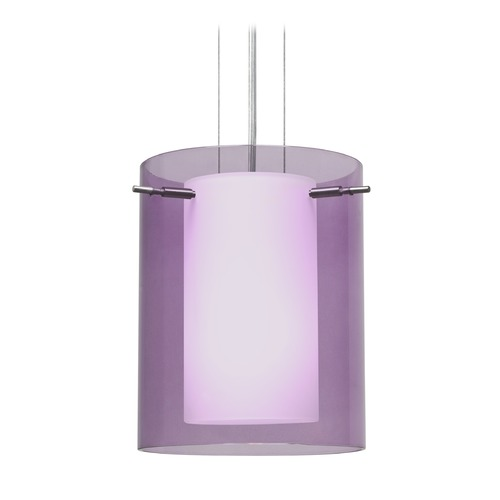 Besa Lighting Besa Lighting Pahu Satin Nickel LED Mini-Pendant Light with Cylindrical Shade 1KG-A00607-LED-SN
