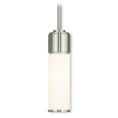 Livex Lighting Livex Lighting Weston Brushed Nickel Mini-Pendant Light with Cylindrical Shade 52111-91