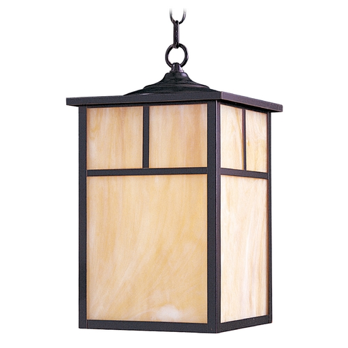 Maxim Lighting Outdoor Hanging Light with Beige / Cream Glass in Burnished Finish 4058HOBU