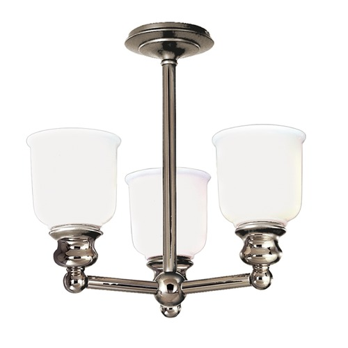 Hudson Valley Lighting Semi-Flushmount Light with White Glass in Polished Nickel Finish 2313F-PN