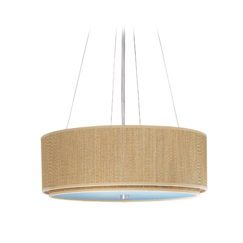 ET2 Lighting Modern Pendant Light with Brown Shades in Satin Nickel Finish E95060-101SN