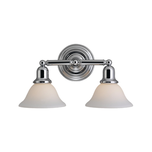 Sea Gull Lighting Bathroom Light with White Glass in Chrome Finish 44061-05