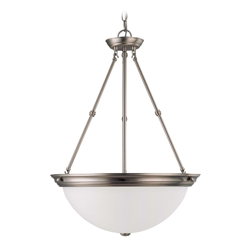 Nuvo Lighting Pendant Light with White Glass in Brushed Nickel Finish 60/3298