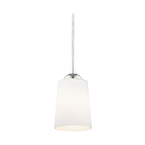 Design Classics Lighting Chrome Mini-Pendant Light with Satin White Glass 582-26 GL1027