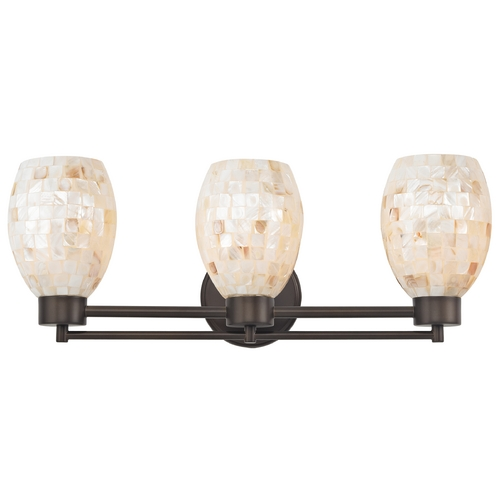 Design Classics Lighting Bathroom Light with Mosaic Glass Glass in Bronze Finish 703-220 GL1034