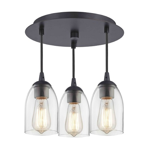 Design Classics Lighting 3-Light Semi-Flush Ceiling Light with Clear Dome Glass - Bronze Finish 579-220 GL1040D
