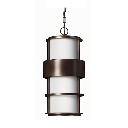 Hinkley Lighting Modern Outdoor Hanging Light with White Glass in Metro Bronze Finish 1902MT