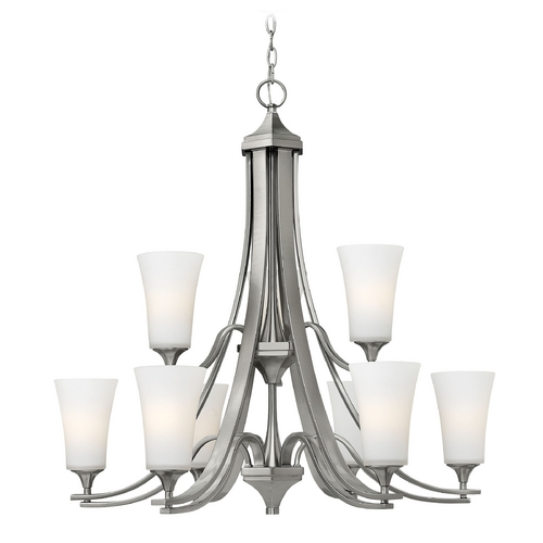 Hinkley Lighting Chandelier with White Glass in Brushed Nickel Finish 4638BN