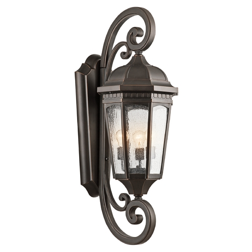 Kichler Lighting Kichler Outdoor Wall Light with Clear Glass in Rubbed Bronze Finish 9060RZ