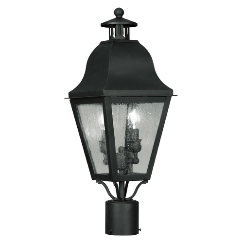 Livex Lighting Seeded Glass Post Light Black Livex Lighting 2552-04