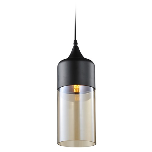 Avenue Lighting Avenue Lighting Robertson Blvd. Black Mini-Pendant Light with Cylindrical Shade HF-9112-BK/BZ