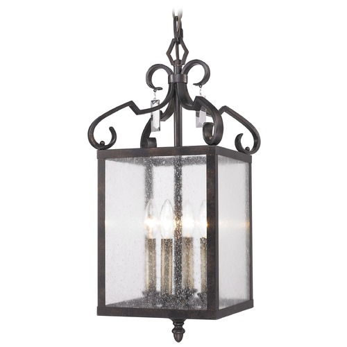 Golden Lighting Golden Lighting Valencia Fired Bronze Pendant Light with Rectangle Shade 2049-4P FB