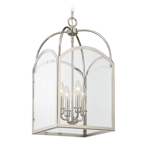 Savoy House Savoy House Lighting Garrett Polished Nickel Pendant Light with Square Shade 3-3055-4-109