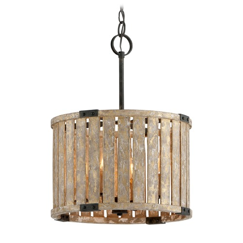 Troy Lighting Troy Lighting Stix Antique Gold Leaf Pendant Light with Drum Shade F5335