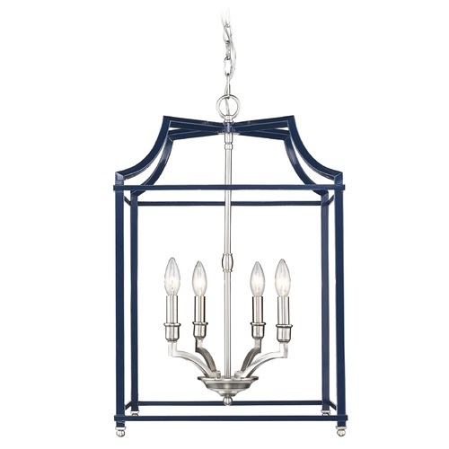 Golden Lighting Leighton PW 4 Light Pendant in Pewter with Navy 8401-4PPW-NVY