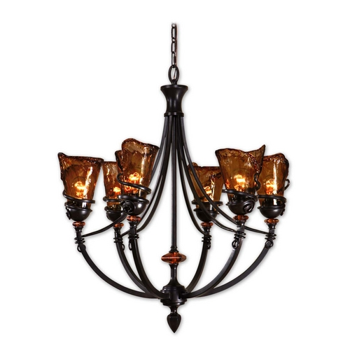 Uttermost Lighting Chandelier with Art Glass in Oil Rubbed Bronze Finish 21227