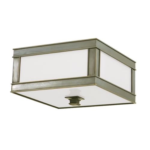 Hudson Valley Lighting Flushmount Light with White Glass in Historic Nickel Finish 4210-HN