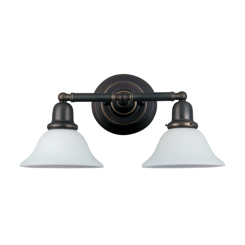 Sea Gull Lighting Bathroom Light with White Glass in Heirloom Bronze Finish 44061-782