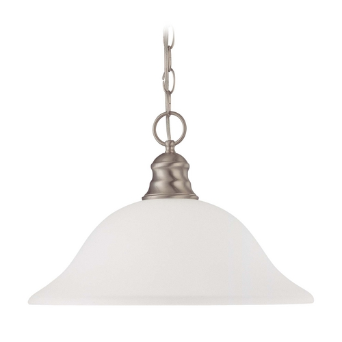 Nuvo Lighting Pendant Light with White Glass in Brushed Nickel Finish 60/3308