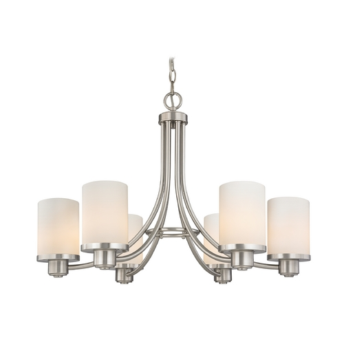 Design Classics Lighting Modern Chandelier with White Glass in Satin Nickel Finish 588-09 GL1028C